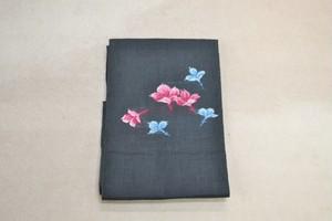 【夏帯】麻素材☆黒地にピンクとブルーのお花