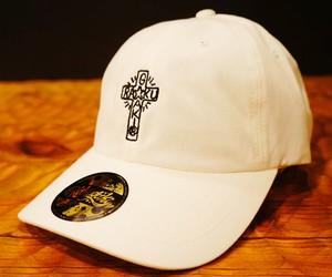 2018 RAKUGAKI CROSS Logo Dad Cap White x Black