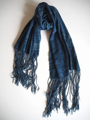 【西アフリカ】 天然藍染の古布ショール-C