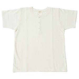 ※アウトレット品 Men's 鹿の子裏毛ヘンリーネックシャツ White 4サイズ №46