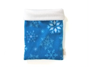 ハリネズミ用寝袋 M(冬用) フリース×フリース スノー ブルー