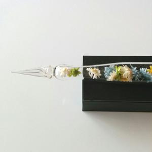 花束のようなガラスペン bluewhite プリザーブドフラワー
