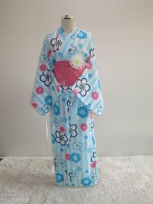 【販売】車椅子用浴衣 スカートタイプ40 Lサイズ(水色縞)