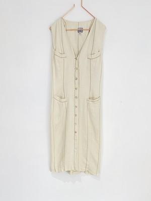 ◼︎80s vintage shell button stripe linen dress  from U.S.A.◼︎