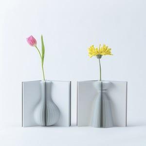 Flowery Tale 02        ブラウン「本のように開き、花と暮らす日常を物語る花瓶」 花付きです。