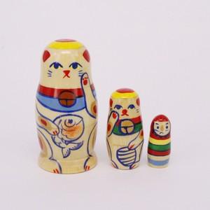 オリジナル 招き猫マトリョーシカ 3個型