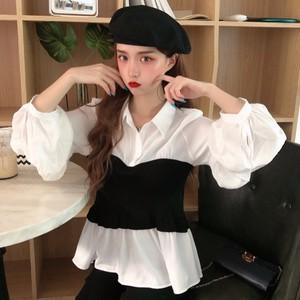 【トップス】洋服通販おすすめエレガント配色切り替えシャツ23139721