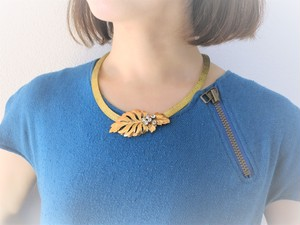 vintage necklace leaf <NC-MSlf>