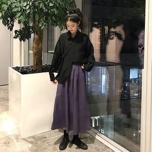 【送料無料】パープル ロングスカート