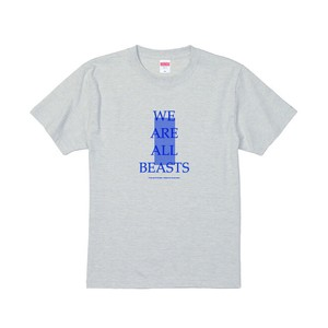 """We Are All Beasts"" T-Shirt / Light Gray × Blue × Blue"