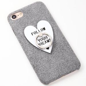 【即納★送料無料】グレーのソフトケースにハートのバンカーリング付iPhoneケース