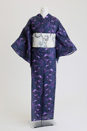 ROBE JAPONICA レディース浴衣 チューリップ 麻100% 仕立て上がり 女性用