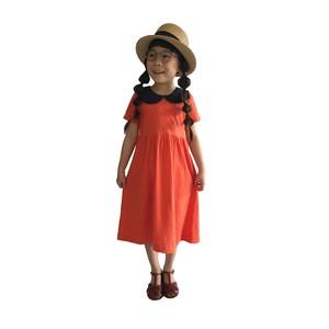 【RINANN】襟つき半袖ワンピース オレンジ