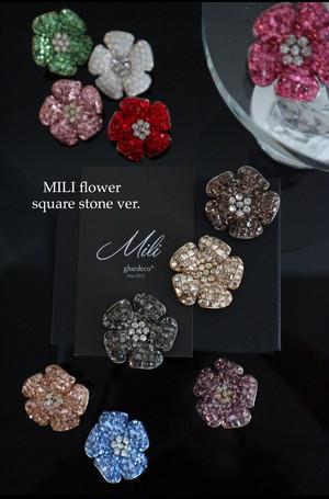 MILI flower square stone ver.ブローチ