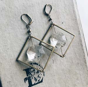 Chandelier earrings -square- [gold]