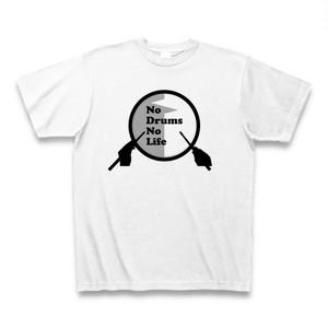 """""""No Drums No Life""""Tシャツ(ホワイト)"""