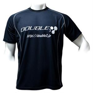 【DOUBLE3(ダブルスリー / ダブル3)】 メンズ (Men's) DW-3210 BK/WH 半袖 T-シャツ ブラック/ホワイト ロゴ入り (DW3210-BKWH)
