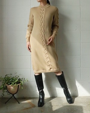 CEILINE cable camel kinit dress