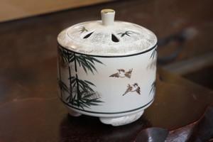竹に雀(Kyo-yaki&Kiyomizu-yaki Incense burner)