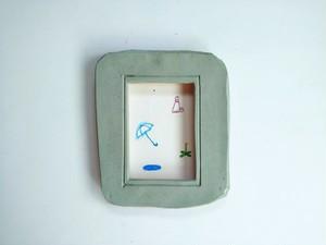 「雨のち晴れ」イラスト原画/陶器の額縁入り