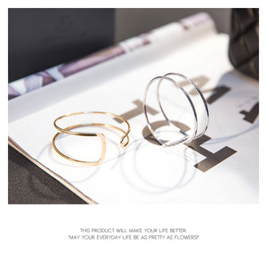 【Bangle】2color Metal Frame Modern Bracelet Bangle[kgf0111]