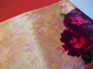 【紅葉とバラ】ゴールド&ピンク半幅帯4m