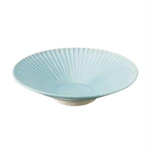 瀬戸焼 伍春窯 そぎ SOGI 反鉢 皿 7寸 約22cm スカイ ブルー 127-0400