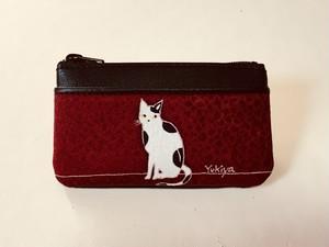 小銭入れ「猫」臙脂色