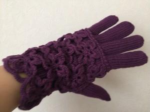 手編み ニット 手袋 メリノウール100% 紫