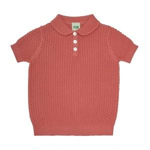 透かし編み襟付きニットTシャツ 『FUB』2021SS ラズベリー Pointelle T-shirt, raspberry GOTS