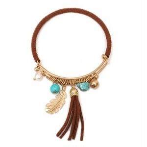 Leaf Metal W/ Suede Tassel Bracelet (TB0080)