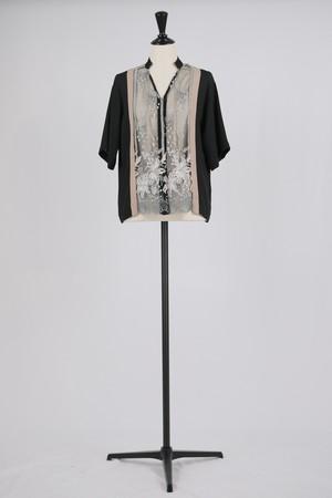 【MURRAL】framed flower half sleeve shirts