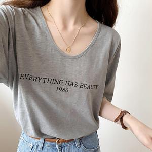 【トップス】カジュアルアルファベットラウンドネック合わせやすい半袖Tシャツ43545086