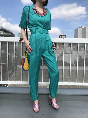 80s Shiny green jumpsuits ( ヴィンテージ  シャイニー グリーン ジャンプスーツ )