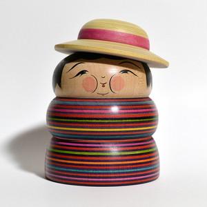メガ帽子ふくよかさんこけし(特大サイズ) 約5寸 約15cm 平賀輝幸 工人(作並系)#0122