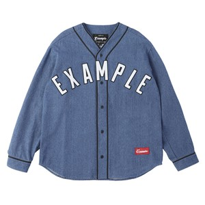 BASE BALL DENIM L/S SHIRT / LIGHT INDIGO