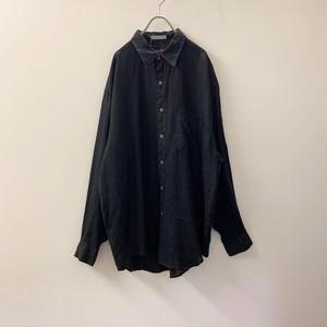 HARRY ROSEN ヨーロピアンリネン シャツ ブラック size XL メンズ 古着