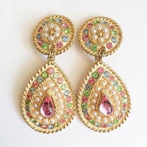 pastel rhinestone & pearl dangle earring[e-927]