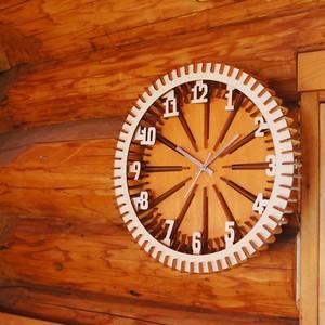 「車輪」木製 掛け時計 インテリア