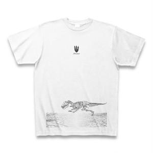 送料無料 一頭描くのが精一杯な骨の恐竜/ダイナソー(Dinosaur)オリジナル メンズTシャツ