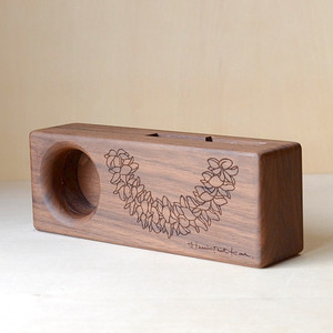 Wood eco speaker [Plumeria Lei / wood:ウォルナッツ] 【WES-PLU-L-3】