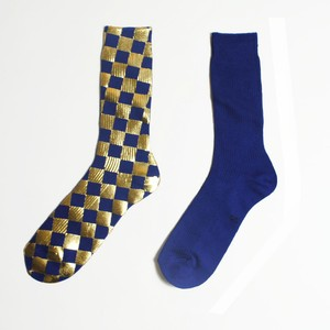 <MEN'S> METAL SOX (CHECKER) BLUE X GOLD
