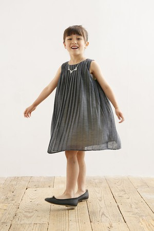 ARCH&LINE / リネンライク プリーツ ドレス 125cm