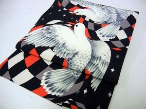 鳩柄名古屋帯「petit pigeon」オレンジ×ブラック