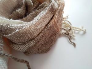 【ホームスパン】草木染 ふっくらあったか手織りインド茜染マフラー 309