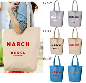 NARCH X STUDIO HIPPO collab big tote bag  (​GRAY / BEIGE / BLUE)