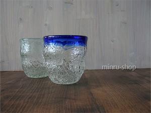 琉球ガラスのペアグラス アイスカット青&スカイ―1