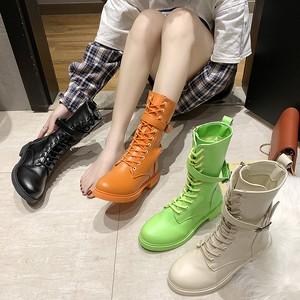 【シューズ】カジュアル切り替え人気ローヒールショート丈ブーツ25528426