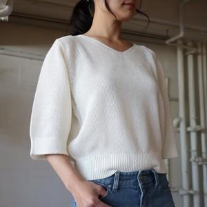 ストローヤーンVネックニット【BB91-701】