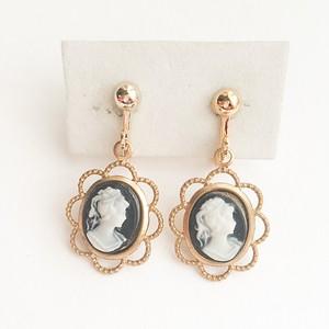 small cameo earring black[e-189]